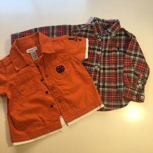 2/$18 Roots & Ralph Lauren Dress Shirts Sz 12-18M